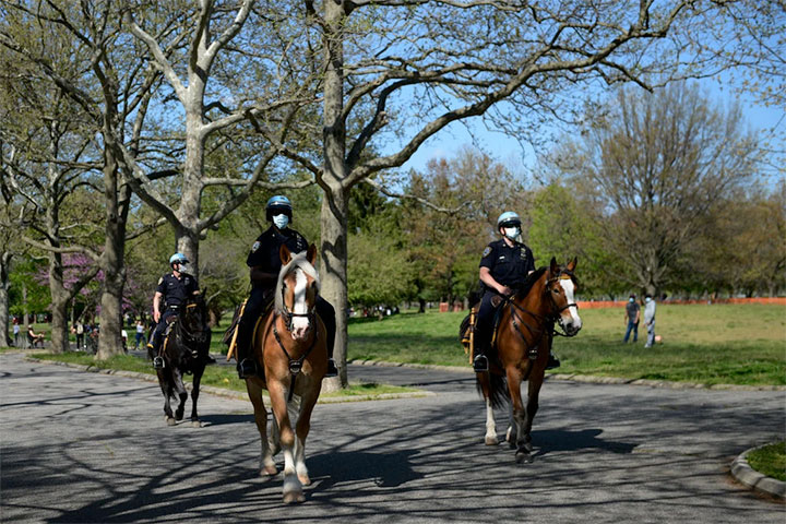 3 New York Police Officers on horses